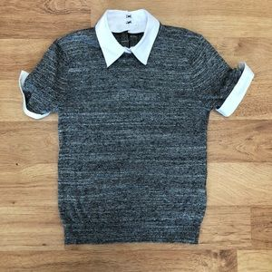 ALICE + OLIVIA HEATHER GREY SHORT SLEEVE SWEATER